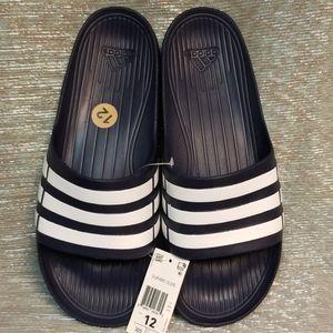 NWT- Adidas Duramo Navy/White Comfort Slides, 12